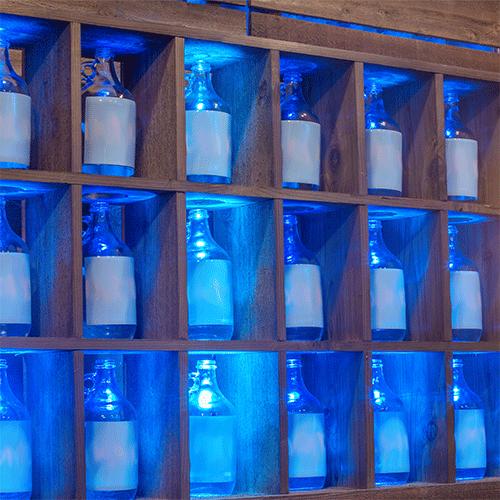 Wood bottle shelves