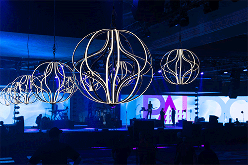Domopalooza Concert Party with curved Chandeliers