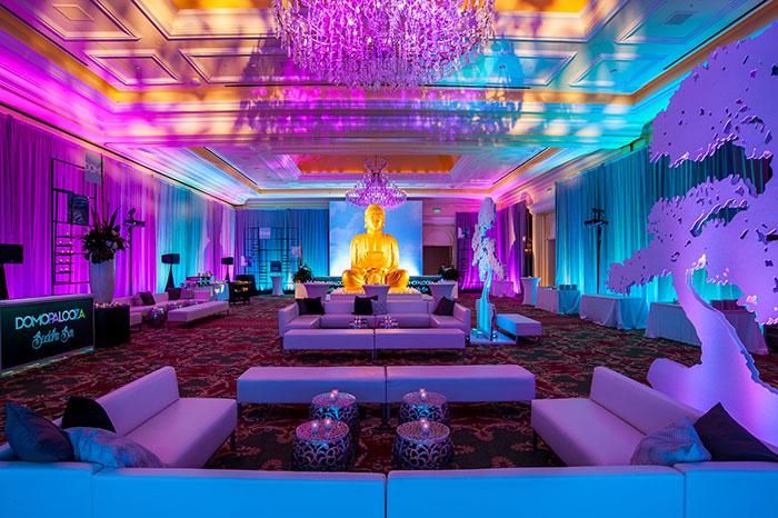 Domopalooza Zen Party and Lounge, Buddha, and bonsai trees.
